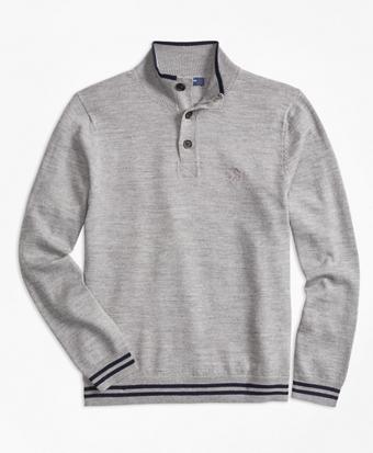 Merino Wool Tipped Mockneck Sweater