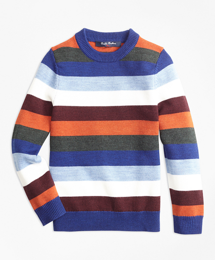 Boys Striped Crewneck Sweater