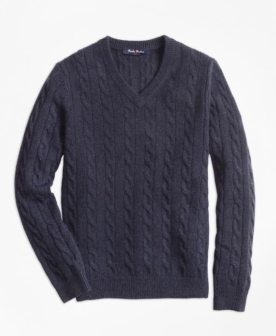Boys Cashmere V-Neck Sweater Navy