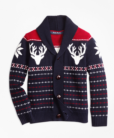 Boys Merino Wool Fair Isle Cardigan