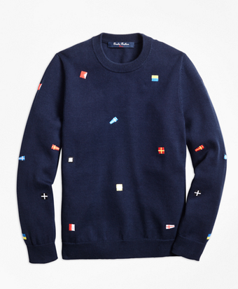 Cotton Flag Embroidered Sweater