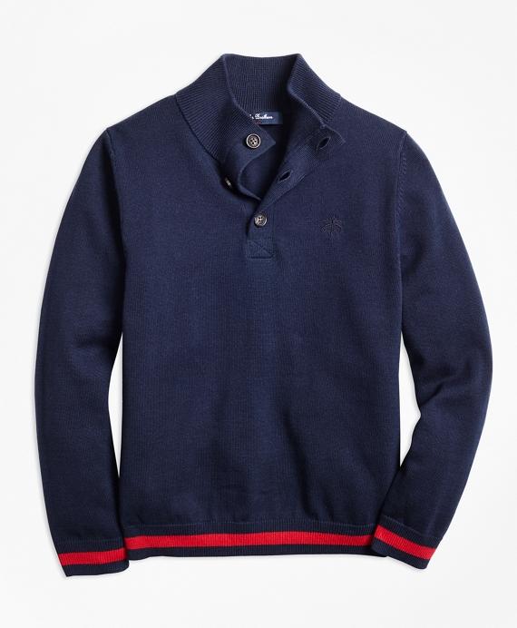 Boys Cotton Mockneck Sweater Navy
