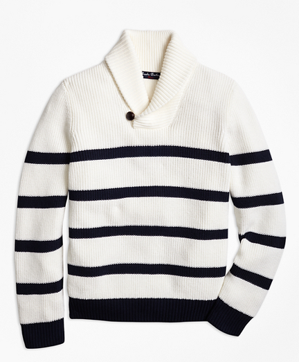Boys Cotton Stripe Shawl Collar Sweater