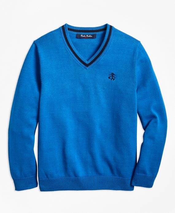 Boys Cotton V-Neck Sweater Blue