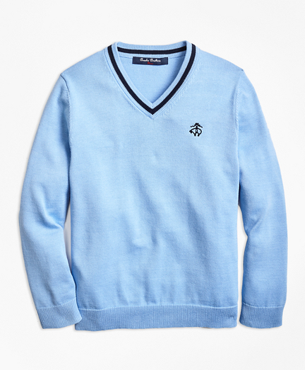 Boys Cotton V-Neck Sweater
