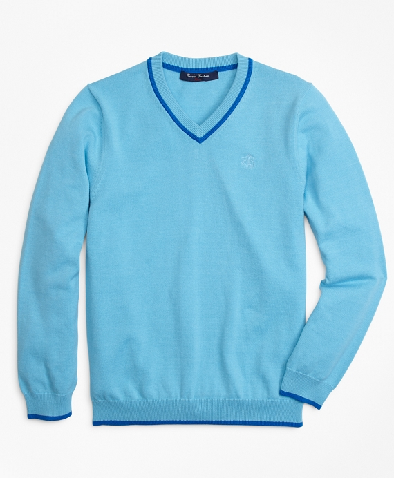 Boys Cotton V-Neck Tipped Sweater Bright Blue