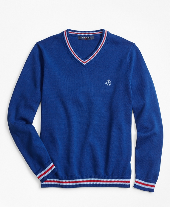 Boys Cotton V-Neck Tipped Sweater Blue