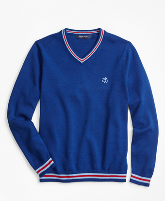 Boys Cotton V-Neck Tipped Sweater