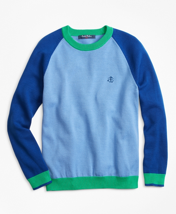 Boys Cotton Color-Block Sweater Blue-Multi