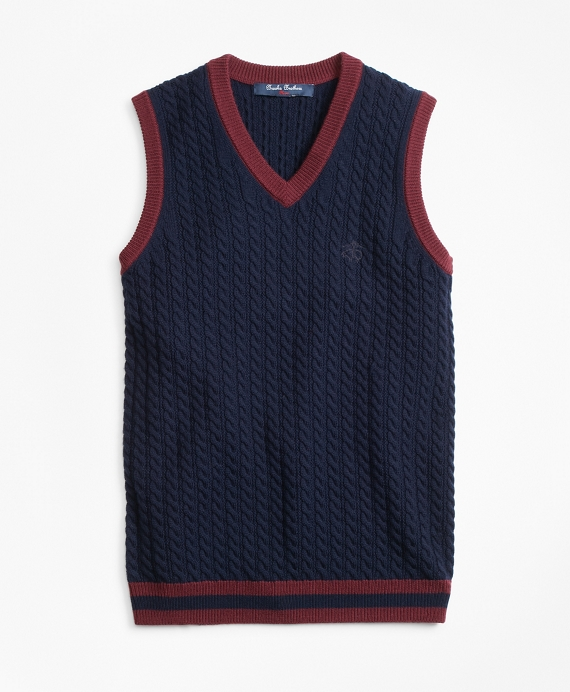 Boys Wool V-Neck Vest Navy