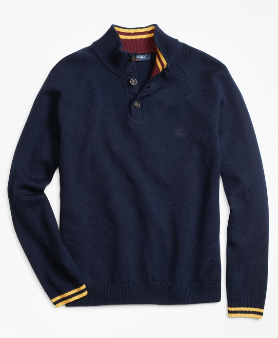 Boys Wool Mockneck Sweater Navy