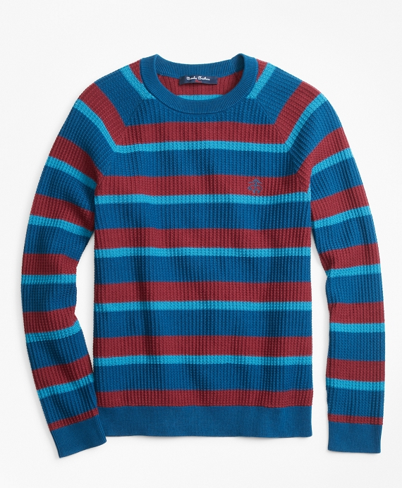 Boys Cotton Stripe Sweater Navy-Burgundy