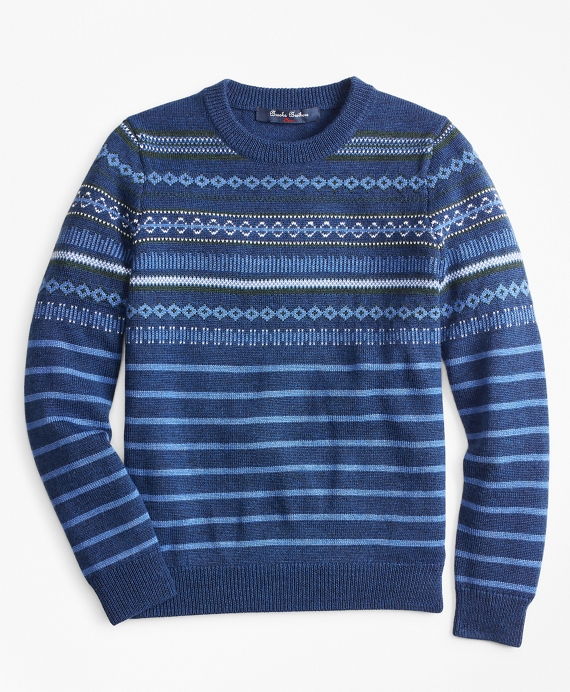 Boys Wool-Blend Multi Fair Isle Crewneck Sweater Navy