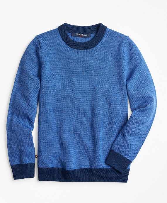 Boys Merino Wool-Blend Crewneck Sweater Blue