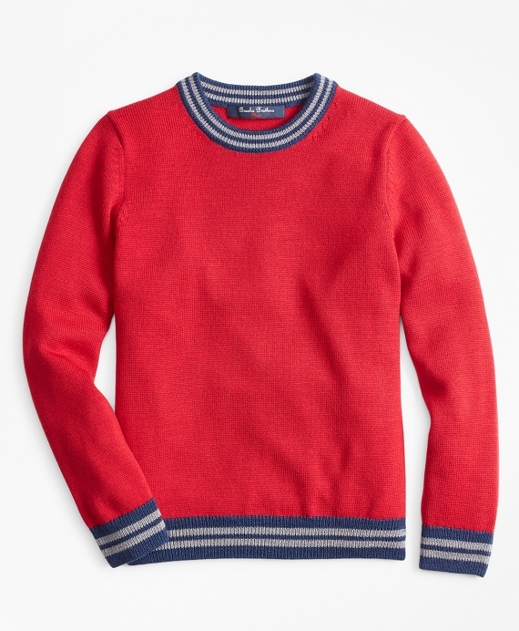 Boys Merino Wool-Blend Crewneck Sweater Red