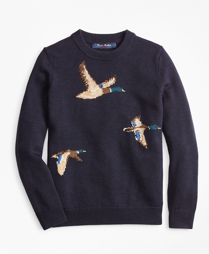 Boys Merino Wool-Blend Mallard Duck Crewneck Sweater