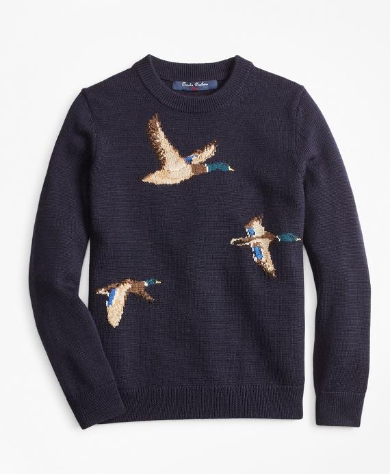 Boys Merino Wool-Blend Mallard Duck Crewneck Sweater Navy