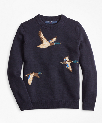 Boys Merino Wool-Blend Mallard Duck Crewneck Sweater