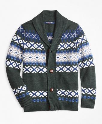 Boys Merino Wool-Blend Shawl Collar Sweater
