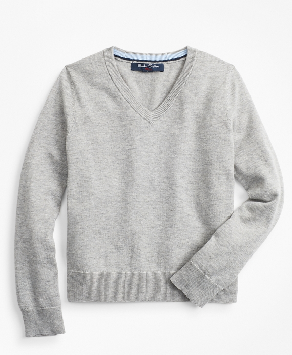 Boys Supima® Cotton V-Neck Sweater Grey