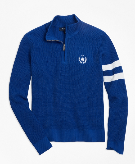 Boys Cotton Half-Zip Sweater Bright Blue