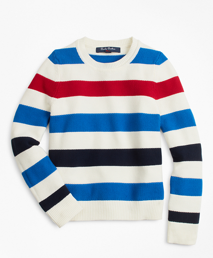 Boys Cotton Stripe Crewneck Sweater
