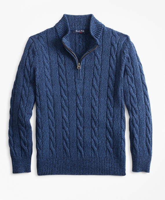 Boys Cotton Half-Zip Cable Sweater Navy