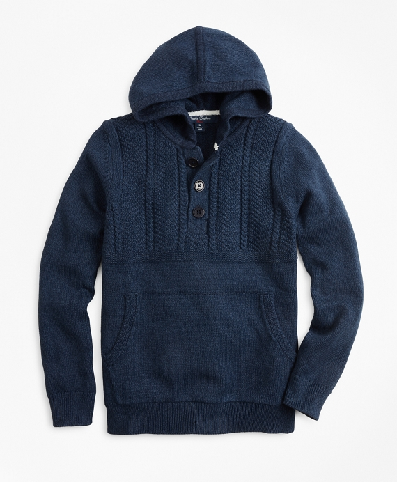 Boys Cotton Hooded Henley Sweater Dark Indigo