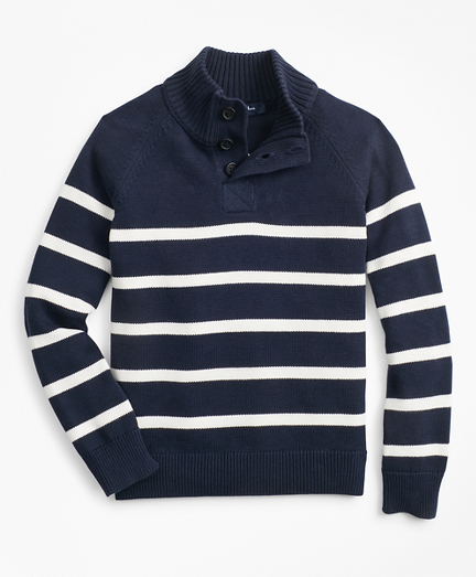 Boys Cotton Stripe Mockneck Sweater