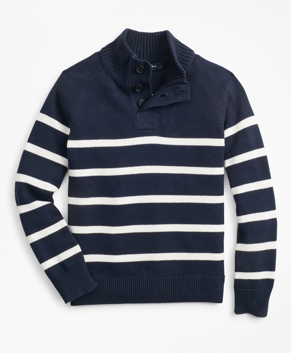 Boys Cotton Stripe Mockneck Sweater Navy
