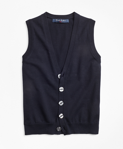 Boys Cotton Button Front Sweater Vest