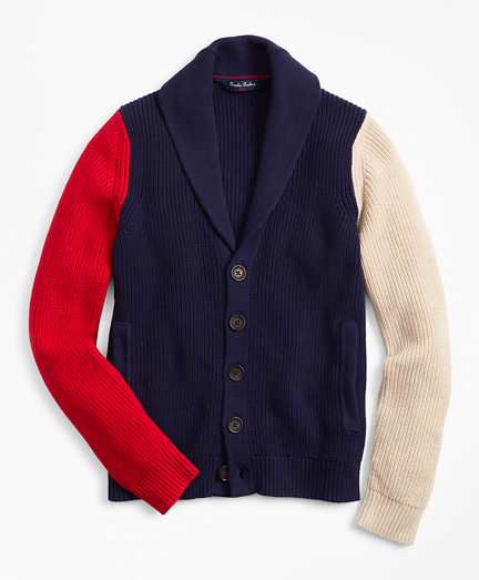 Boys Color-Block Shawl Cardigan