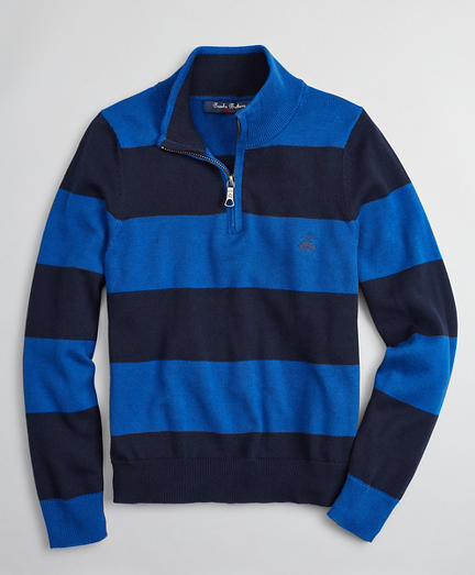 Boys Cotton Rugby Stripe Half-Zip Sweater