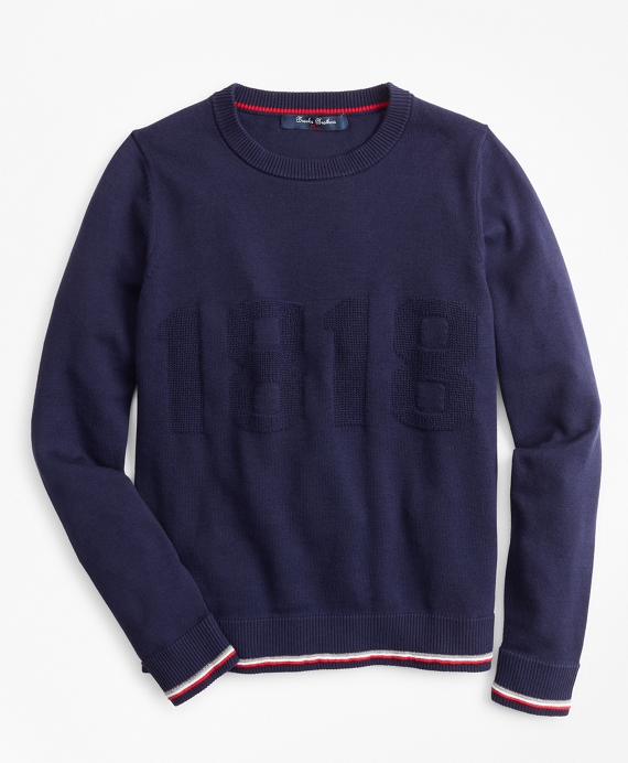 Boys Cotton 1818 Crewneck Sweatshirt Navy