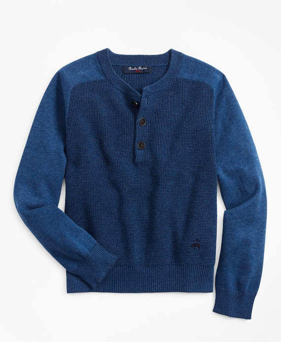 Boys Cotton Waffle Knit Henley Blue