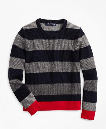 Boys Cotton Crewneck Stripe Sweater