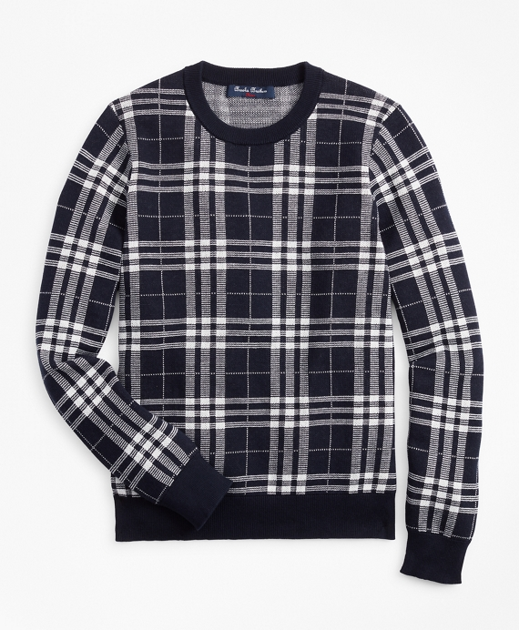 Boys Cotton Plaid Sweatshirt Navy