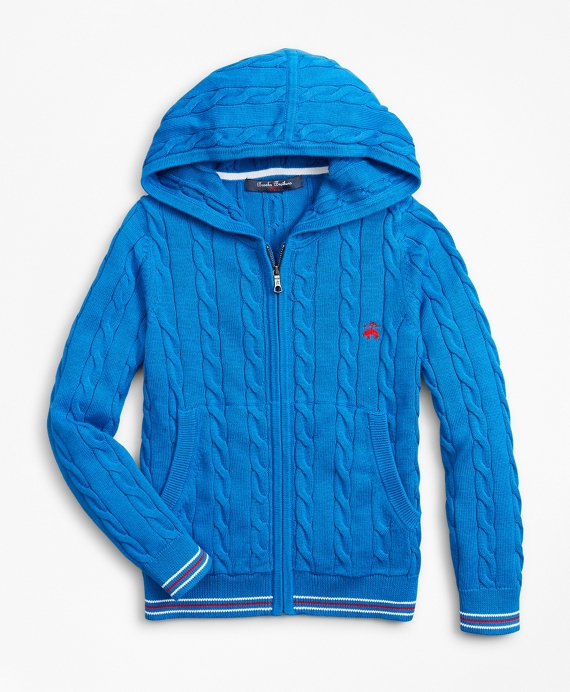 Boys Cotton Full-Zip Hooded Sweater Bright Blue