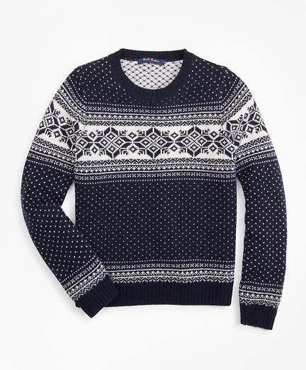 Brooksbrothers Boys Wool-Blend Snowflake Sweater
