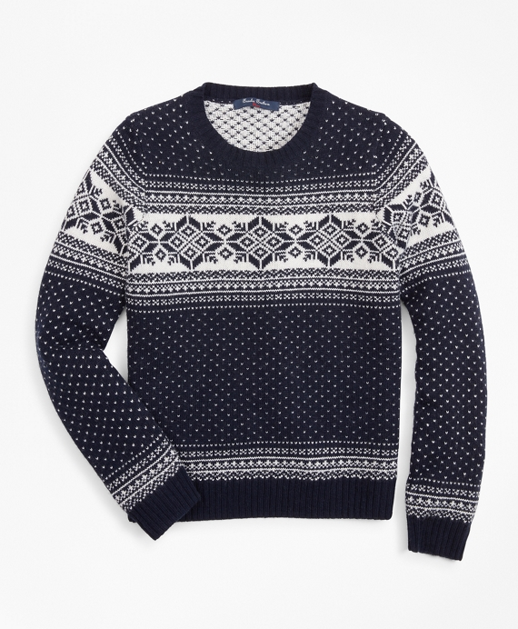 Boys Wool-Blend Snowflake Sweater Navy