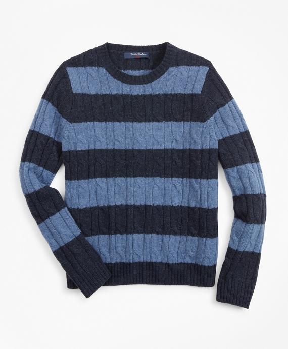 Boys Merino Wool-Blend Stripe Sweater Navy