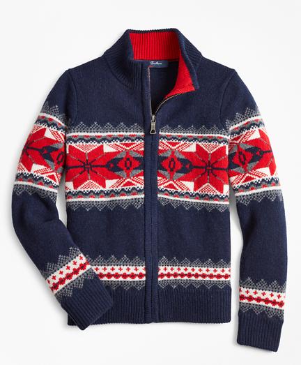 Boys Merino Wool-Blend Snowlflake Full-Zip Sweater