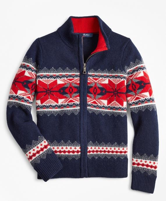 Boys Merino Wool-Blend Snowlflake Full-Zip Sweater Navy