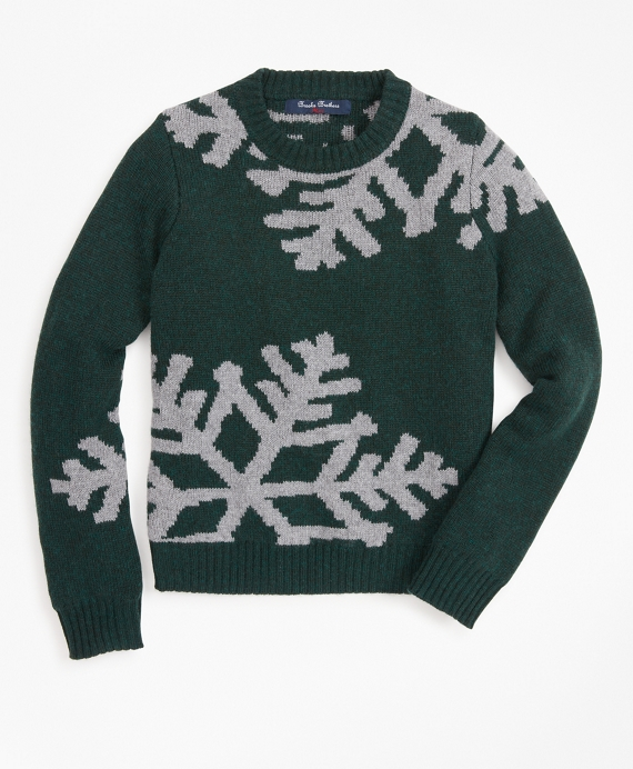 Boys Wool-Blend Oversized Snowflake Crewneck Sweater Green