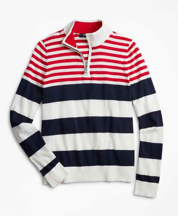 Boys Engineered Stripe Cotton Sweater Navy-Multi