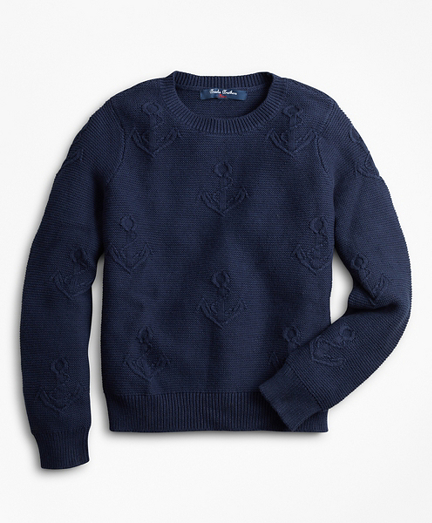 Boys Cotton Anchor Embroidered Sweater