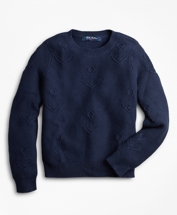 Boys Cotton Anchor Embroidered Sweater Navy