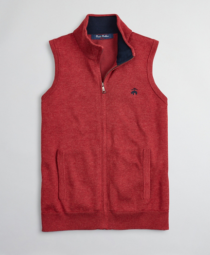 Boys Supima® Cotton-Blend Full-Zip Sweater Vest
