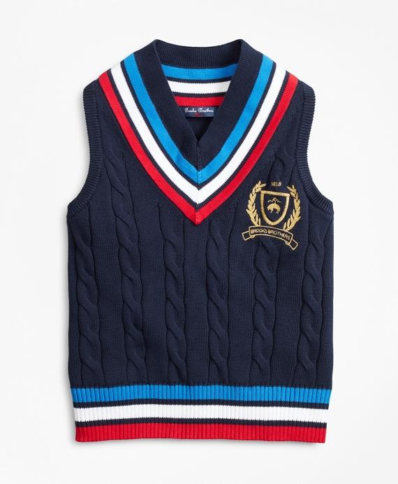 Boys Cotton Tennis Sweater Vest Navy