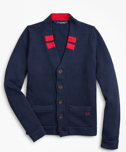 Boys Cotton Varsity Cardigan